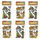 6-teiliges Tattoo-Set * Indianer * vom Mauder-Verlag | Kinder Kindertattoo Kindergeburtstag Geburtstag Mitgebsel Geschenk Häuptling Wilderwesten Cowboy