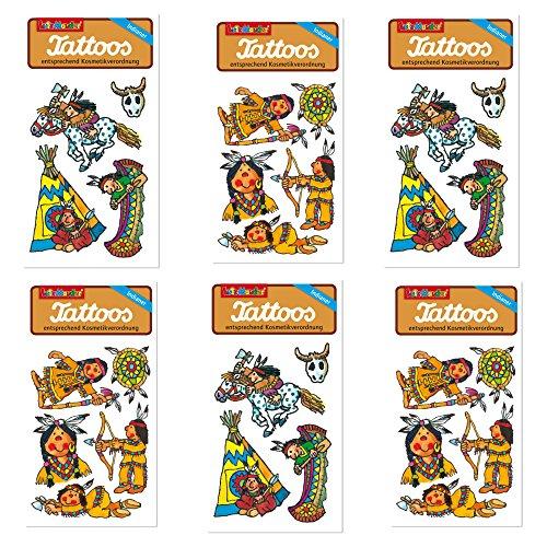 6-teiliges Tattoo-Set * Indianer * vom Mauder-Verlag   Kinder Kindertattoo Kindergeburtstag Geburtstag Mitgebsel Geschenk Häuptling Wilderwesten Cowboy