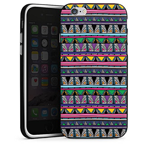 Apple iPhone X Silikon Hülle Case Schutzhülle Ethnostyle 80er Azteken Muster Silikon Case schwarz / weiß