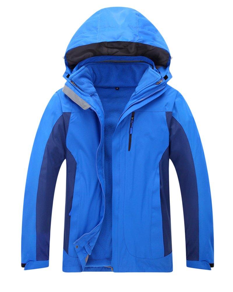 ZongSen Men's/Women's 3 in 1 Waterproof and Breathable Outdoor Keep Warm Hooded Jacket