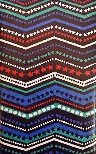 Americana 4. Juli Zig Zag Sterne und Stirpes Vinyl Tischdecke Flanell Rückseite, Polyester Vinyl, red, white blue, 52 Inches X 52 Inches Square