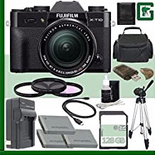 Fujifilm X-T10 Mirrorless Digital Camera With 18-55mm Lens (Black) + 128GB Green's Camera Bundle 5