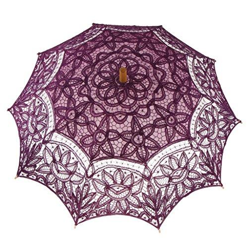 Sharplace Vintage Spitze Regenschirm Sonnenschirm Hochzeit Brautschirm Foto Requisiten - Lila
