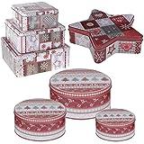 LS Design 3x Plätzchendose Gebäckdose Keksdose Kekse Plätzchen Weihnachten Rund