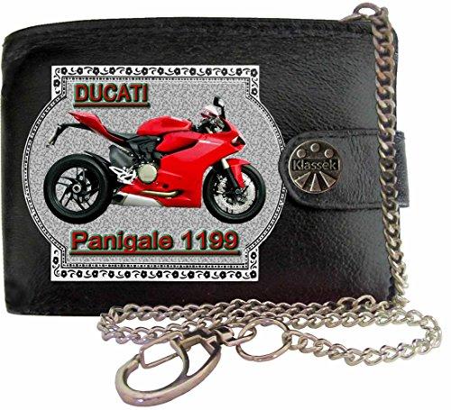 Motorrad Kette Portemonnaies (Ducati 1199 Panigale Bild auf KLASSEK Marken RFID Herren Geldbörse Portemonnaie Echtes Leder mit Kette Motorrad Bike Zubehör Geschenk mit Metall Box NICHT OFFIZIELLE Ducati Produkte)