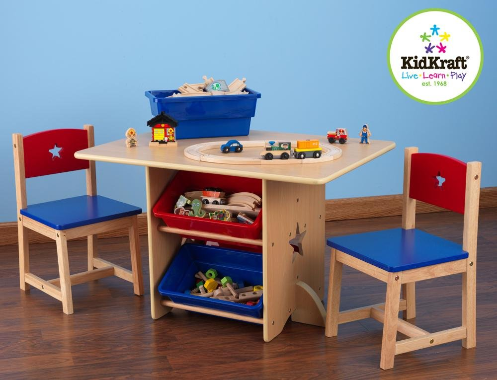 KidKraft 26912 Star Wooden Table & 2 Chair Set with storage bins, kids children's playroom / bedroom furniture - Red & Blue KidKraft Four convenient storage bins Bins can be reached from either side of table Star-shaped holes on table and chairs 2