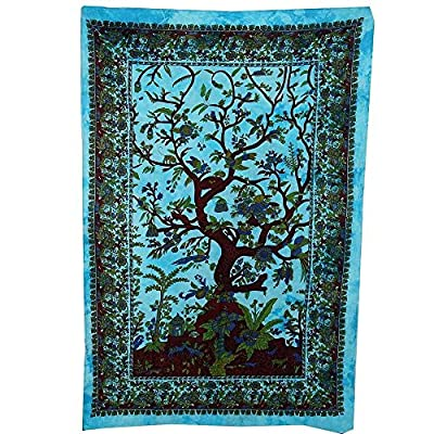 TREE OF LIFE NATURE WALL ART SINGLE BED SOFA THROW BEDDING COVER boho yoga tapestry GREEN RED ORANGE BLUE WHITE