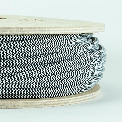 Dreileiter-Stoffkabel, farbig Schwarz & Weiß