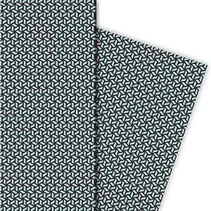 Grafisches Geschenkpapier im Escher Retro Look, grau blau, für tolle Geschenk Verpackung und Überraschungen (4 Bogen, 32 x 48cm)