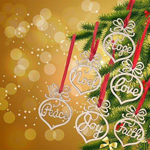 6PCS Weihnachtsschmuck, Holz hängenden Handwerk Tags Anhänger Dekor für Weihnachtsbaum Dekoration - Frieden glauben Hoffnung Liebe Noel Joy