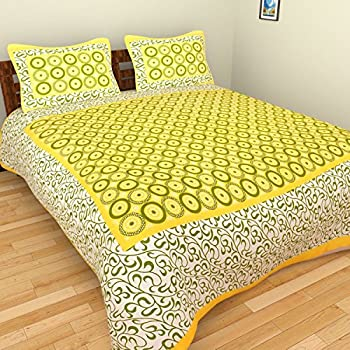 8afbc80cd13 UniqChoice Jaipuri and Rajasthani Traditional 250 TC Cotton Double Bedsheet  with 2 Pillow Covers - Multicolour