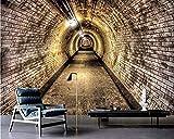 Shukun Papel pintado Mural fotográfico personalizado Papel tapiz 3D Túnel de viento industrial Pared de ladrillo Túnel Fondo Papel tapiz Decoración del hogar Papel tapiz 3D