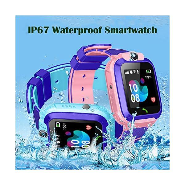 Smartwatch Niños IP67 Impermeable - AGPS LBS Tracker Localizador Reloj Inteligente Niños, Smartwatch Niña con Cámara SOS Chat de Voz Juego Alarma, Reloj Inteligente Niña Compatible con iOS Android 6