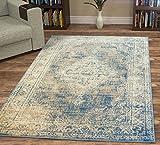 A2z Schnellspanner Teppich Vintage Traditioneller Santorini Kollektion Blau 80x 150cm–2,6x 5ft Bereich Teppiche