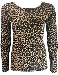 MIXLOT Neue Frauen Sexy Brown und Schwarz Leopard Print Langarm Top Tshirt