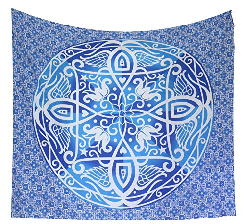 Kesrie large blue wall hanging tapestry mandala and ancient symbol