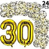 Gejoy 24 Stücke 42 Zoll Luftballons zum 30. Geburtstag und Klar Luftballons mit Gold Konfetti Füllung Bedruckter 30 Latex Luftballon für die Dekoration zum 30. Geburtstag und 30 Jährige Jubiläum