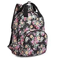 Kono Women Girls Oilcloth Flower Print Backpack Leisure Travel School Daypack Fashion Rucksack