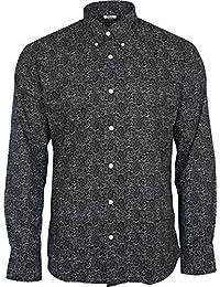Homme Relco Noir Paisley Manche Longue Boutonné 100% Chemise Coton