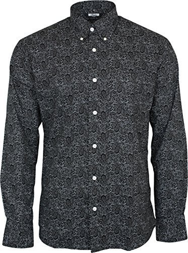 Men's Relco Black Paisley Longsleeve Button Down 100%