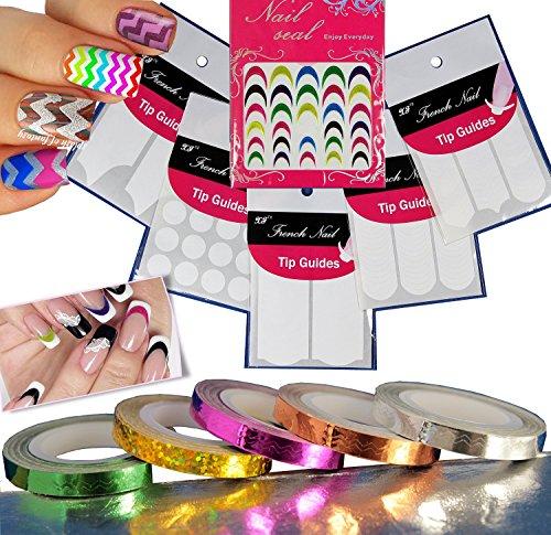 11 piezas de arte de uñas galón cinta decorativa rayas / punta blanc