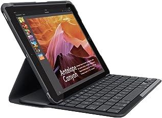 Logitech iPad Slim Folio Tasche (mit Drahtloser Tastatur und Bluetooth, Kompatibel mit iPad 5 Generation, Qwertz Deutsches Tastaturlayout) Schwarz