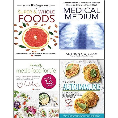 Medical medium, autoimmune life, healthy medic food and hidden healing  powers 4 books collection set