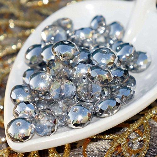 Argento metallizzato Chiaro di Vetro ceco Rondelle Sfaccettate Perline 8mm x 5mm 12pcs