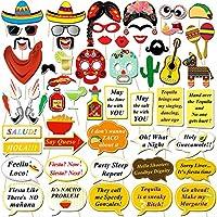 Konsait Fiesta Mexicana Photo Booth Props Cabina de Fotos Accesorios Photocall Gafas Máscara Sombreros para Cinco