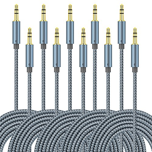 umecore 5Pack 3Ft Nylon Geflochten 3,5-mm-Stecker auf Stecker KFZ und Home Stereo-Audio-Verlängerungskabel für iPad, iPhone, iPod, Galaxy, Android, Kopfhörer, MP3-Player, Grey*5Packs - 3' Stecker