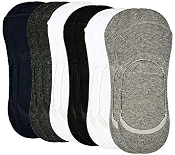 Tex Homz® (Pack of 6) Premium Mercerised Anti Slip Cotton Loafers No show Socks For Men, Women, Boys & Girls , Anti-slip silicone Technology   Unisex Cotton Socks Liners For Daily Use & Sports   Fits Upto UK Size 10, US Size 12 & Euro Size 45   Pack of 6 pairs Socks ( Grey,White,Blue,Black)