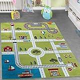Alfombra infantil, diseño ciudad y puerto, color verde, 80 x 150 cm