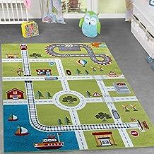 Alfombra infantil, diseño ciudad y puerto, color verde, 120 x 170 cm
