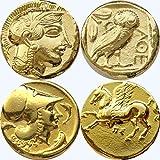 Dieu grec Athena/Owl et Athena/Pegasus, 2 pièces de monnaie et les déesses, Collection numismatique, (#2-G, 12 G)...