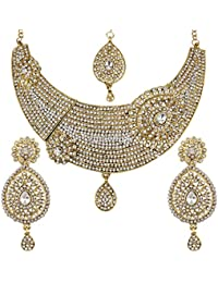 Jewels Gehna Traditional Gold Plated Funky Designer Comfy Necklace ,2 Earrings Set , Maangtika For Women & Girls