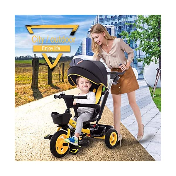 GSDZSY - Luxury 4 IN 1 Children Tricycle, Comfortable Adjustable Seat For The Baby To Sit Or Lie Flat, Removable Push Handle Bar,With Safety Fence,1-6 Years Old GSDZSY ❀ Material: High carbon steel + ABS + rubber wheel, suitable for children from 6 months to 6 years old, maximum load 30 kg ❀ Features: The push rod can adjust the height and control direction, the seat can rotate 360; the baby can lie flat, adjustable umbrella, suitable for different weather conditions ❀ Performance: high carbon steel frame, strong and strong bearing capacity; non-inflatable rubber wheel, suitable for all kinds of road conditions, good shock absorption, seat with breathable fabric, baby ride more comfortable 2