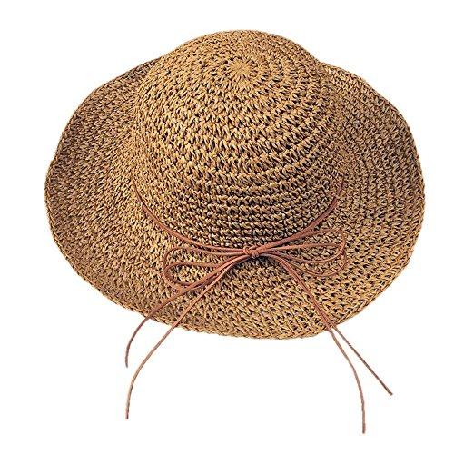 Kostüm Kappe Newsboy (Women's faltbare Visier Sommer Outdoor Beach Travel Hut mit Bug-Knoten)
