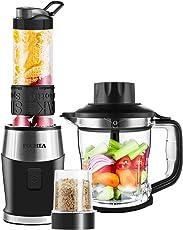 Mixer Smoothie Maker 3 in1 Multifunktion Standmixer + Fleisch Zerkleinerer / Ice Crusher + Kaffeemühle (700 Watt , 24000U/Min) Elektrisch Shake Smoothie Mixer mit 570ml Sport-Flasche BPA frei