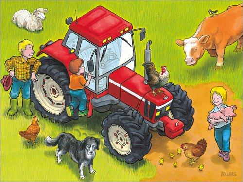 Posterlounge Holzbild 160 x 120 cm: Roter Traktor von Helmut Kollars