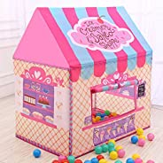 AMERTEER Princess Castle Play Tent for Girls Playhouse with Twinkle Stars String Lights Kids Game House for In