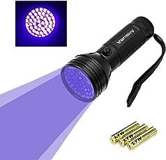 Vansky UV Schwarzlicht Taschenlampe mit 51 LEDs | Haustiere Urin-Detektor für Eingetrocknete Flecken Ihrer Hunde, Katzen und Nagetiere auf Teppichen, Vorhänge, Gardinen, Möbel und Anderen Stoffen | inkl. 3xAA-Batterien