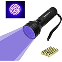 Vansky® Blacklight VS-UVFL03 UV-zaklamp, met 51leds, huisdieren-urinedetector voor ingedroogde vlekken van honden, katten en knaagdieren op tapijten, gordijnen, vitrages, meubels en andere stoffen, incl. 3x AA-batterij, energielabel A