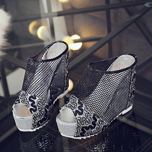 HCFKJ 2017 Mode Frauen Flip Flops Hollow Wedge High Heel Schuhe Ladies Summer Sandalen 13 Cm Schwarz