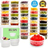EasyBuy India 15 PACK, 8 0Z : Plastic Food Storage Containers with lids,&Portion Control,Kids Lunch Boxes-Watertight / Leakproof-Kitchen Set 8oz, 15pcs