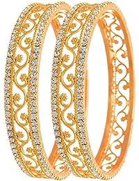 Aabhu American Diamond Fancy Gold Plated Bangles Kada Set Jewellery For Women And Girl