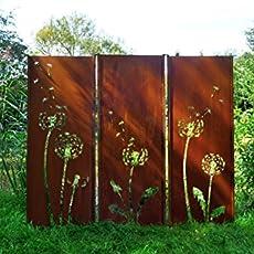 Gartenwand Sichtschutz Triptychon Pusteblume Rost Stahl 225x195 Cm