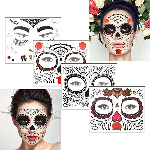 COKOHAPPY Gesicht Temporäre Tattoo 4 the Schädel Rose Blumen Schwarz Halloween Herren Damen (Halloween Kostüm Make Up Männer)