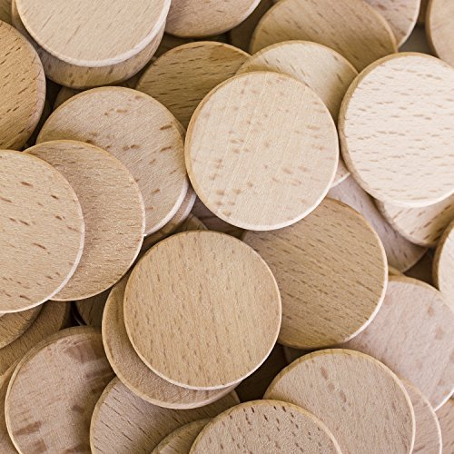 Round Unfinished 1.5 Wood Cutout Circles Chips for Arts & Crafts Projects, Board Game Pieces, Ornaments (100 Pieces) by Super Z Outlet® by Super Z Outlet