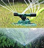 Loneflash aspersores de agua, rociador de césped, cabezal de rociador de agua automático, rotación de 360°, ángulo y distancia ajustables (21 x 19 x 9,5 cm)
