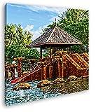 exotischer Pavillon mit Holzschildkröten Format: 60x60 Effekt: Zeichnung als Leinwandbild, Motiv fertig gerahmt auf Echtholzrahmen, Hochwertiger Digitaldruck mit Rahmen, Kein Poster oder Plakat